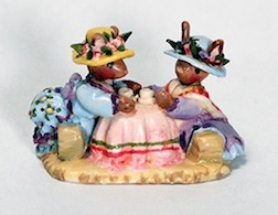 A tiny rabbit tea party, a vintage piece from Karen Markland that will be up for bids at the Guild's Chicago auction.