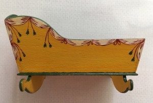 1/12 scale cradle decorated by IGMA Fellow member Mary Grady O'Brien.